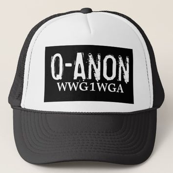 BLACK & WHITE WWG1WGA TRUCKER HAT