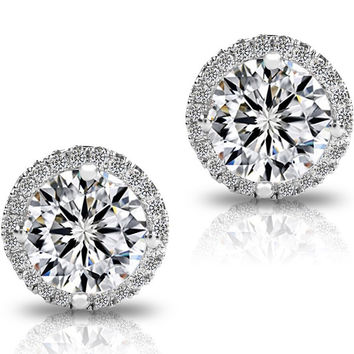 Women's Cluster Round Cut Stud Earrings