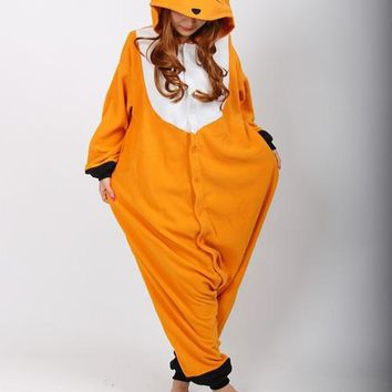Kigurumi Onesuits Cosplay Sleepwears Romper Fox Cosplay Costume Unisex Anime Cartoon Fox Onesuit Adult Pajamas Animal Onesuits