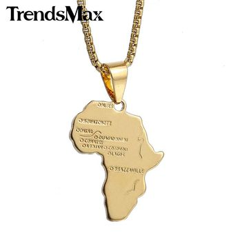 Trendsmax Yellow Gold Filled Pendant Africa Map Shape