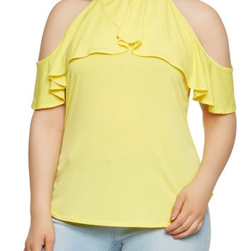 Plus Size Ruffle Cold Shoulder Top