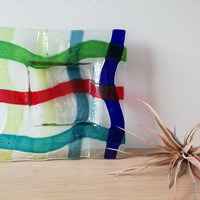 Vintage glass ashtray, modern square glass ashtray, multicolour glass ashtray, fusion glass ashtray/plate, late eighties