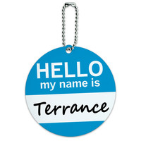 Terrance Hello My Name Is Round ID Card Luggage Tag