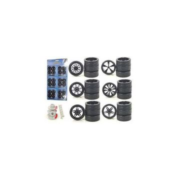 Custom Wheels for 1/18 Scale Cars and Trucks 24pc Wheels & Tires Set