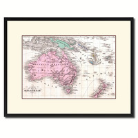 New Zealand Oceania Australia Vintage Antique Map Wall Art Home Decor Gift Ideas Canvas Print Custom Picture Frame