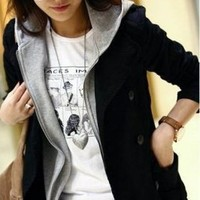 Wholesale Hot Sale Casual Fake Two Pieces Hooded Coat Black