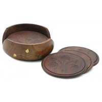 6 Wood Round Drink Coasters for Bar Coffee Bench Tea Desk Dining Table