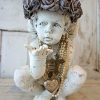 Distressed cherub statue with gray rose crown halo with angelic wings