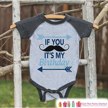Boys Birthday Outfit - Mustache Birthday Boy Shirt or Onepiece - Youth, Toddler, Baby Birthday Outfit - Grey Baseball Tee - Kid Baseball Tee