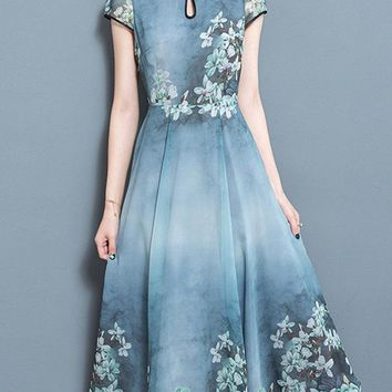 Chinese Style Printed Mandarin Collar Short Sleeve Dresses