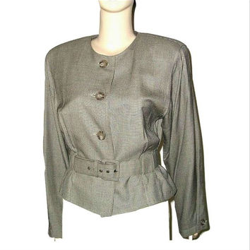 Vintage 80s PERRY ELLIS Silk Tweed Taupe Brown Belted Short Jacket 10 - Lady of the Manor