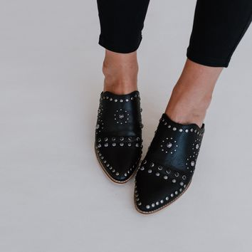 Kat Jeweled Mule Slide - Black