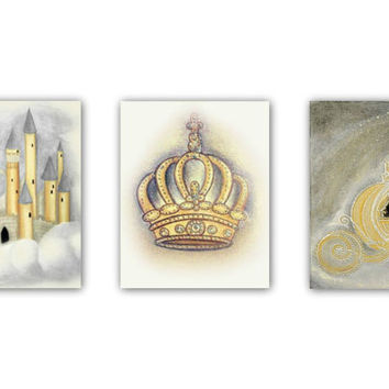 Royal Princess Nursery Art, Castle, Cinderella's Coach, Princess Crown, Nursery wall art, Nursery decor, girl nursery art, baby girl nursery