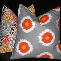 """Accent Pillows IKAT bloom Decorative Home Decor Pillow Covers gray 20 inch grey, orange, brown, chili pepper 20"""""""