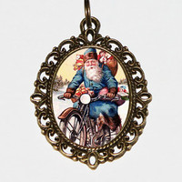 Santa Motorcycle Necklace, Oval Pendant, Christmas Jewelry, Santa Pendant