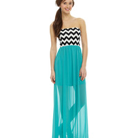 Sequin Hearts Strapless Chevron Maxi Dress | Dillards.com