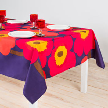 "Home Decor: Marimekko Unikko tablecloth 63"" x 98"" in dark blue, red, brown 