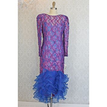 Vintage Sequin  Ribbon Ruffle Hem Lace Dress