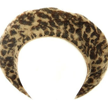 Jessica Simpson Women's Cheetah Print Rabbit Hair Beret