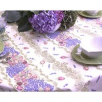 """60"""" x 120"""" Rectangle French Roses and Lavender Cotton Tablecloth on White * You Can Select Plain or Stain-Proof Coated Cotton in Menu Below"""
