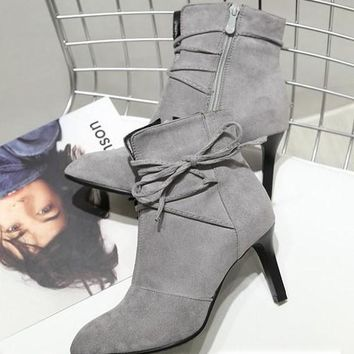 New Grey Point Toe Stiletto Cross Strap Fashion High-Heeled Boots