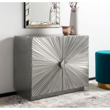 "Safavieh Couture Sylas Sunburst 2-Door Chest / Silver - 34.5""w x 15.75""d x 29.5""h 