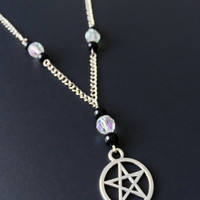 Pentacle Necklace, Pentagram Pendant, Witchy Jewelry, Gothic Jewelry, Grunge Necklace, Pagan Jewelry, Wiccan Necklace, Silver Pentagram