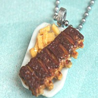 Baby Back Ribs and Fries Necklace