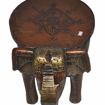 Wooden Stool Indian Chair Handmade Hand Painted Craved Elephant Design furniture Stool Wood Chair Vintage Decorative Chair