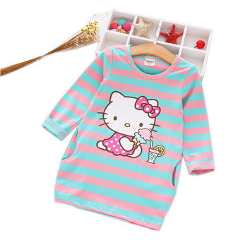 Autumn Girls Dress Hello Kitty Cartoon Kids Dresses For Girl Clothes 2-8Y Children Vestidos Costume Roupas Infantis Menina