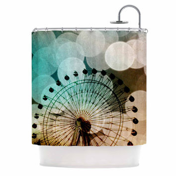 "Sylvia Coomes ""Ferris Wheel Silhouette"" Beige Teal Shower Curtain"