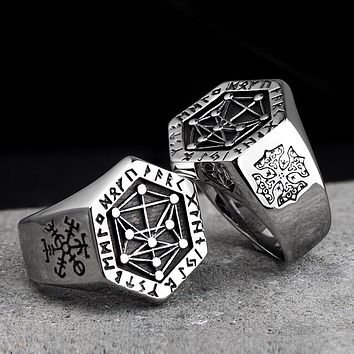 Nordic mythology Viking rune stainless steel  rings  for man and women  Kabala totem Index Ring fashion jewelry