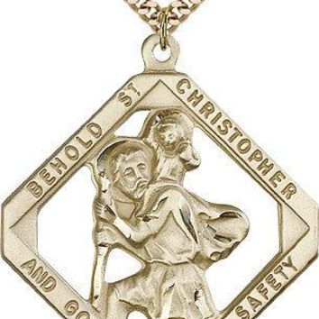 "Saint Christopher Medal For Men - Gold Filled Necklace On 24"" Chain - 30 Day ... 617759893410"