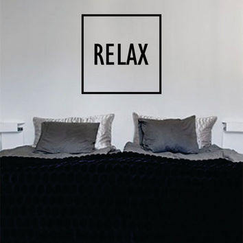 Relax Simple Square Design Quote Decal Sticker Wall Vinyl Decor Art