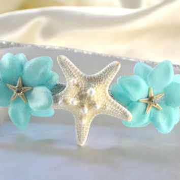 Sparkly Starfish Headband White Starfish aqua turquoise flowers with teeny starfish & rhinestones