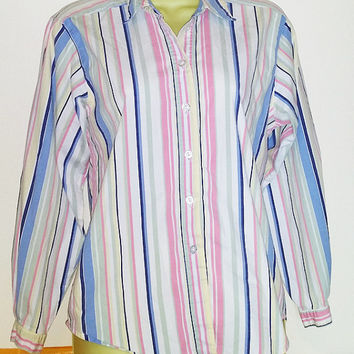 pink and blue stripe shirt button down collar top, stripes shirt, womens size medium long sleeve blouse, 90s clothing vintage 1990s