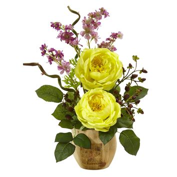 Artificial Flowers -Large Rose And Dancing Daisy In Wooden Pot Arrangement