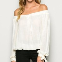 Bow Sleeve Off Shoulder Top