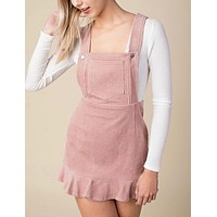 honey punch - corduroy mini overall dress - baby pink