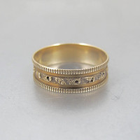 Victorian Wedding Band Ring. Antique 10K Rose Gold Cigar Band Ring. Gold Eternity Floral Milgrain Band.