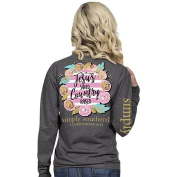 "Simply Southern ""Country Raised"" Long Sleeve T-Shirt"