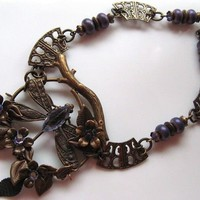 ZEN PURPLE DRAGONFLY VINTAJ BRASS BUTTERFLY NECKLACE - by GErManoArts on madeit