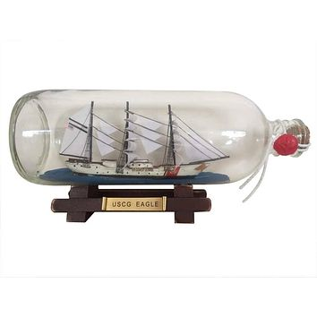 United States Coast Guard USCG Eagle Model Ship In A Glass Bottle 9""