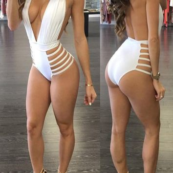 White Hollow-out Halter Neck Cleavage Backless High Waisted One Piece Short Jumpsuit