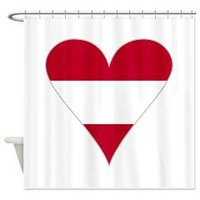 Austrian Flag Heart Funky w/Gray Border Shower Cur> Home, Office, Car - Funky Austrian Flag Heart> Flags of Nations and Stuff