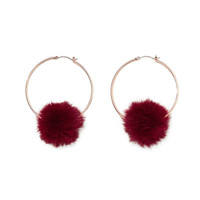 POMPOM HOOP EARRINGS