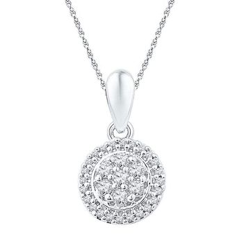 10kt White Gold Women's Round Diamond Halo Flower Cluster Pendant 1-4 Cttw - FREE Shipping (US/CAN)