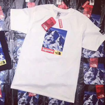 Supreme X The North Face Fashion Women Men Personality Letter Print Short Sleeve T-Shirt Pullover Top White I-CN-CFPFGYS