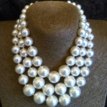 Vintage Faux Pearl Necklace, 3 Strand Chunky Jewelry, 1950's 1960's Mad Men Mod, Black Tie Formal, Wedding Bridal Jewelry