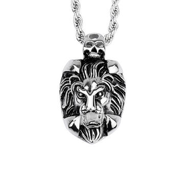 Lion Head Pendant 316L Stainless Steel Necklace with Chain
